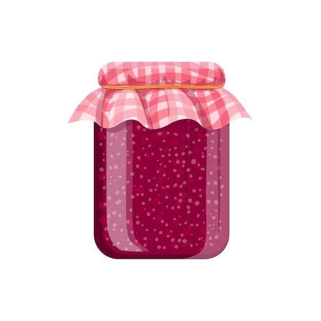 Vasetto di marmellata di lamponi fatta in casa. illustrazione di cartone animato Vettore Premium