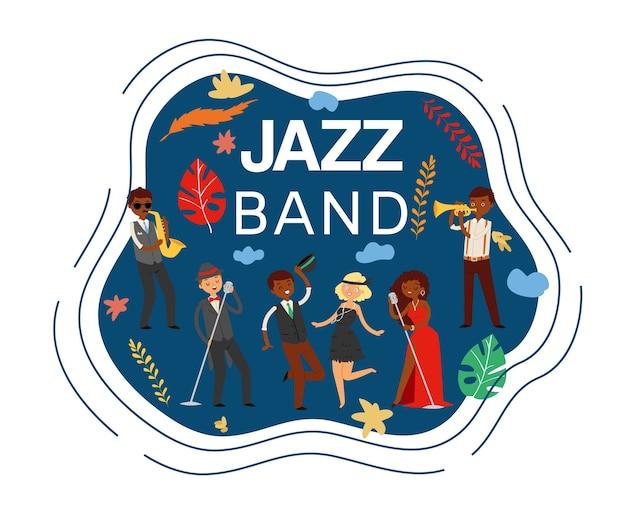 Iscrizione jazz band, composito, musica da concerto di sassofono, attrezzatura da palco, illustrazione l'uomo canta canzoni, musicisti di diverse nazionalità, scena acustica. Vettore Premium