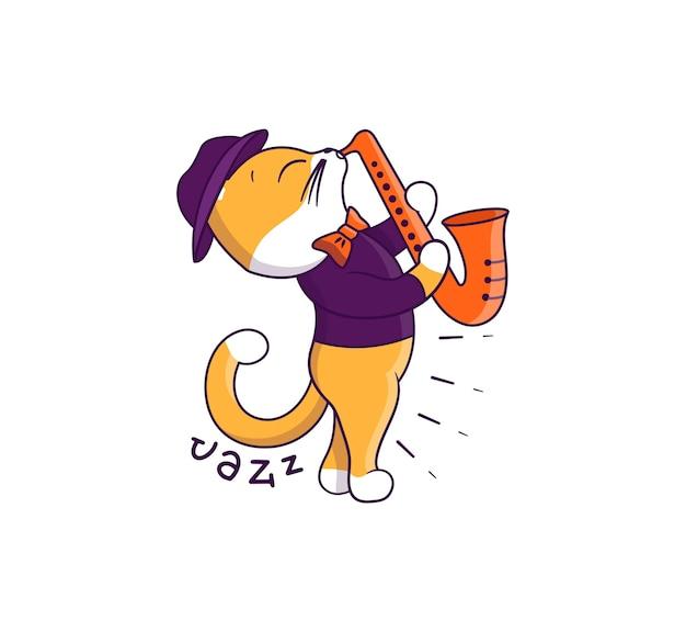 Il gatto jazz che suona il sassofono Vettore Premium