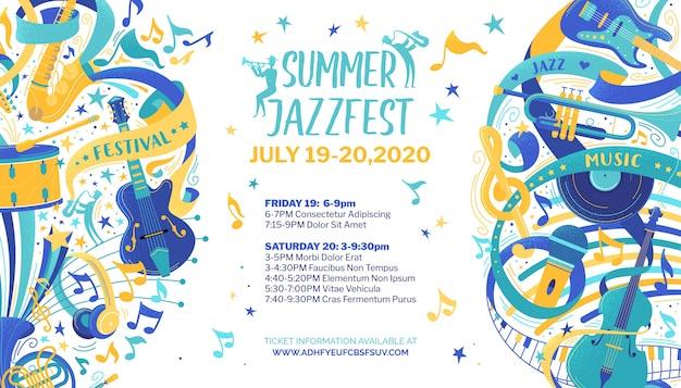 Modello di manifesto piatto festival jazz Vettore Premium