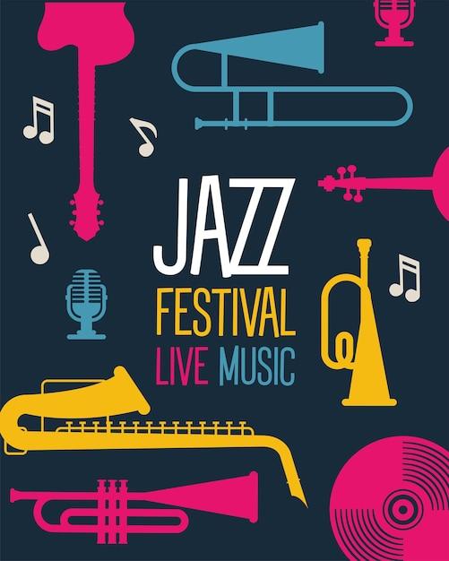 Manifesto del festival jazz con strumenti e disegno dell'illustrazione di vettore dell'iscrizione Vettore Premium