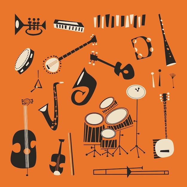 Strumenti jazz Vettore Premium