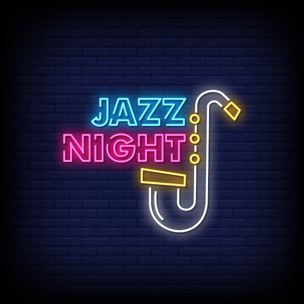 Jazz night neon signs style text vector Vettore Premium