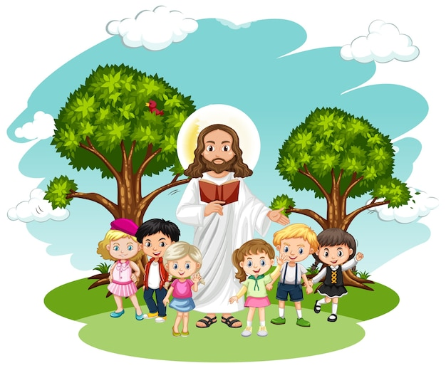 Gesù che predica a un personaggio dei cartoni animati di un gruppo di bambini Vettore Premium