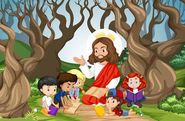 Gesù predica a un gruppo di bambini nella scena della foresta Vettore Premium