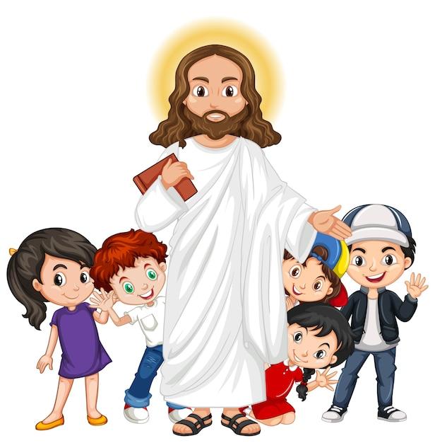 Gesù con un personaggio dei cartoni animati di gruppo di bambini Vettore Premium