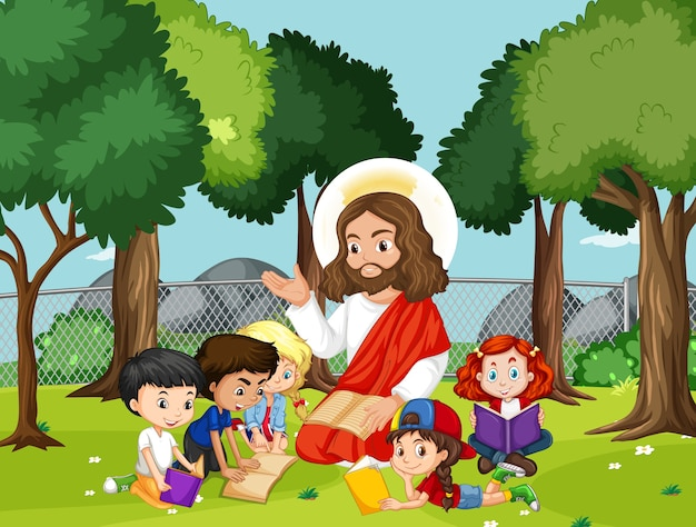 Gesù con i bambini nel parco Vettore Premium