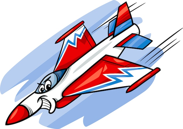 Illustrazione del fumetto dell'aereo da caccia jet Vettore Premium