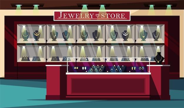 Illustrazione vetrina negozio di gioielli, bigiotteria e layout poster pubblicitario boutique di gemme. Vettore Premium