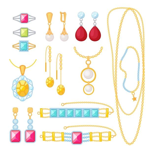 Gioielleria. negozio costoso con bracciali in oro gemme donna matrimonio gioielli con diamanti elementi del fumetto di vettore. gioielli e regalo d'oro, illustrazione di moda bracciale collezione Vettore Premium