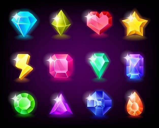 Le gemme di gioielli mettono la pietra magica con le scintille per il gioco mobile Vettore Premium