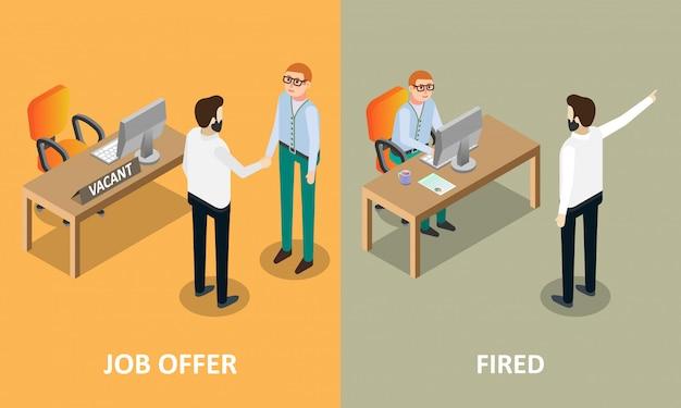 Offerta di lavoro ed elementi di progettazione concettuale di vettore infornati Vettore Premium