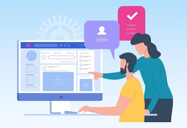 Ricerca di lavoro. reclutamento. head hunting nei social network Vettore Premium