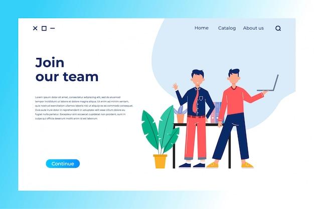 Unisciti alla squadra pagina di destinazione design con illustrazione piatta Vettore Premium