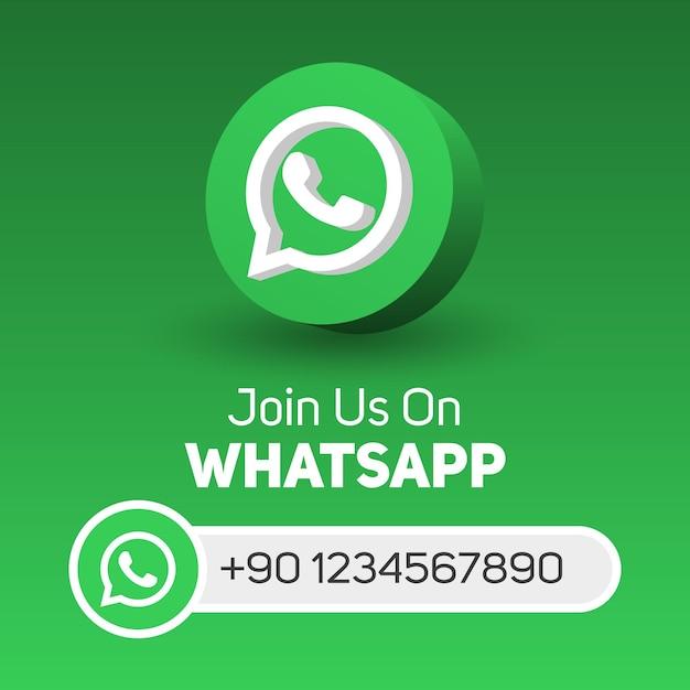 Unisciti a noi su whatsapp social media banner quadrato con logo 3d e casella nome utente Vettore Premium