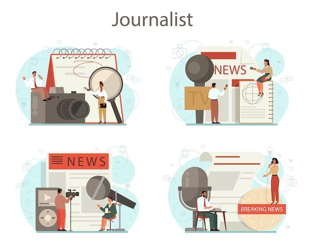 Insieme di concetto del giornalista. reporter televisivo con microfono. professione di mass media. giornale, internet e giornalismo radiofonico. Vettore Premium