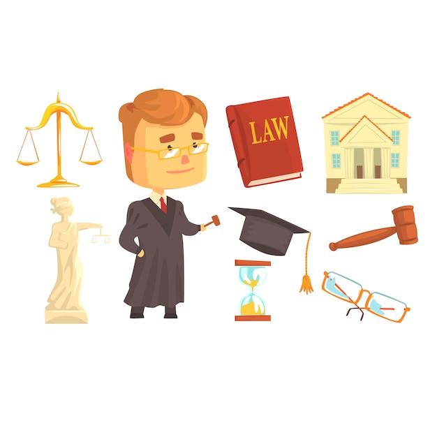 Giudice e attributi dell'attività giudiziaria fissati per la progettazione di etichette. Vettore Premium