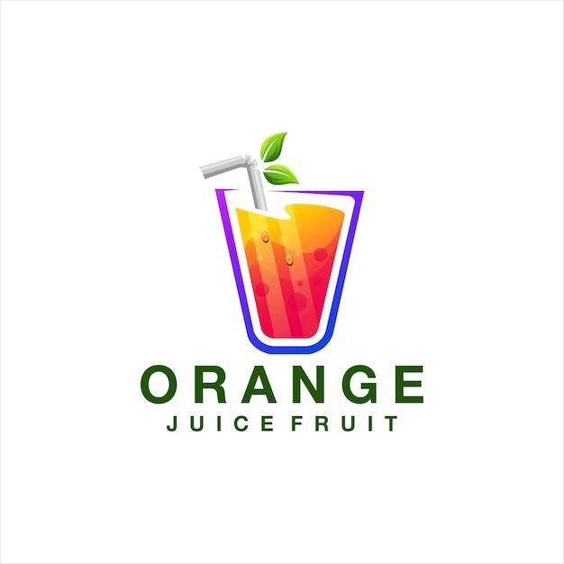 Design del logo sfumato di colore del succo Vettore Premium