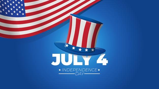 Illustrazione di festa dell'indipendenza del 4 luglio con il cappello di zio sam su fondo blu e sul concetto della bandiera degli stati uniti Vettore Premium
