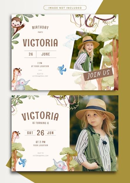 Modello della carta dell'invito di compleanno di tema di avventura nella giungla Vettore Premium