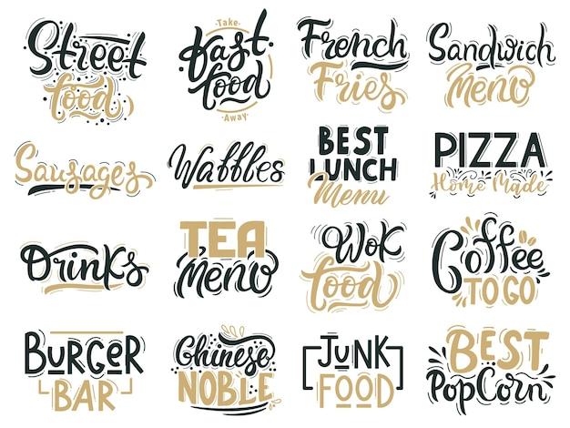 Citazioni di cibo spazzatura. fast food, junk e street food lettering, bevande e distintivi disegnati a mano di cibo Vettore Premium