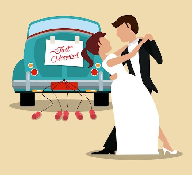 Solo coppia di sposi che balla e auto Vettore Premium