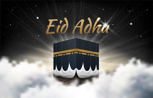 Kaaba vettore per hajj mabroor in la mecca arabia saudita, media (passi di pellegrinaggio dall'inizio alla fine - arafat mountain) per eid adha mubarak Vettore Premium