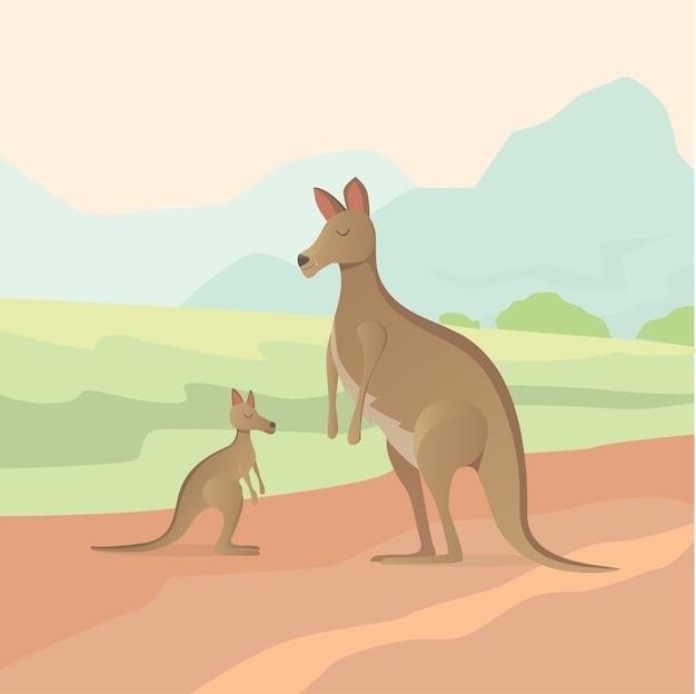 Illustrazione di canguro in design piatto Vettore Premium