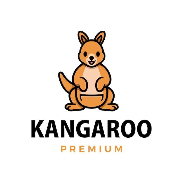 Pollice del canguro sull'illustrazione dell'icona di logo del personaggio della mascotte Vettore Premium