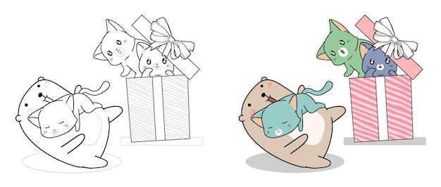 Orso e gatti kawaii nella confezione regalo dei cartoni animati da colorare facilmente per bambini Vettore Premium
