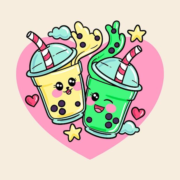 Kawaii bubble tea illustrazione Vettore Premium