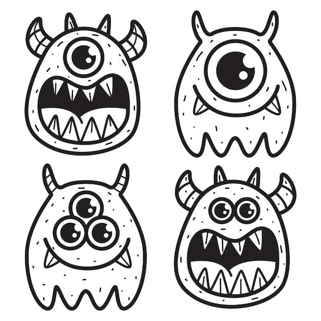 Illustrazione di disegno di doodle del mostro del fumetto di kawaii Vettore Premium