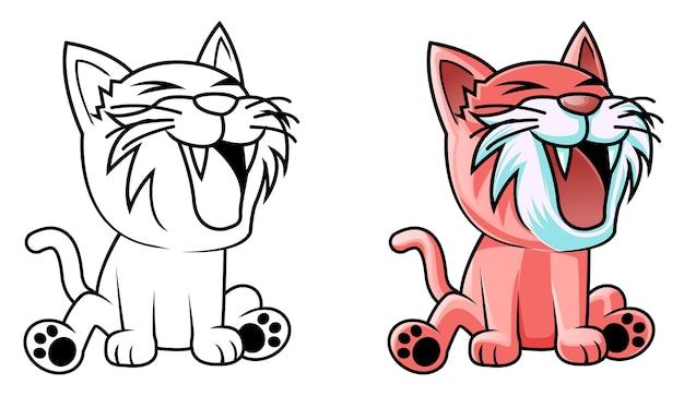 Pagina da colorare di cartoni animati gatto kawaii per bambini Vettore Premium