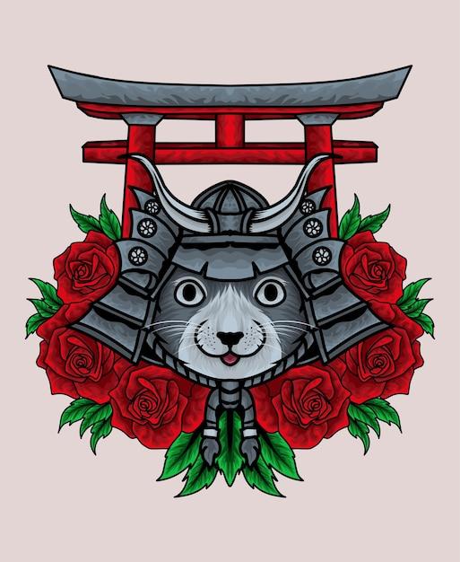 Testa di samurai gatto kawaii con fiore rosa e cancello torii Vettore Premium