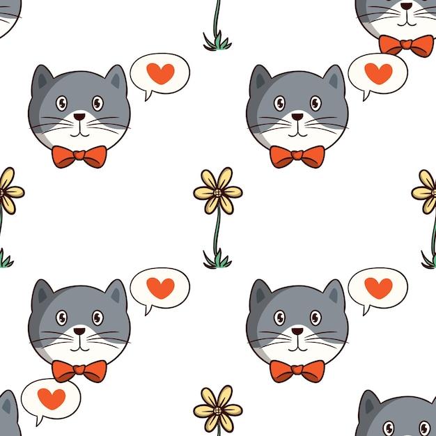 Gatto kawaii con fiore in seamless con stile doodle colorato su sfondo bianco Vettore Premium