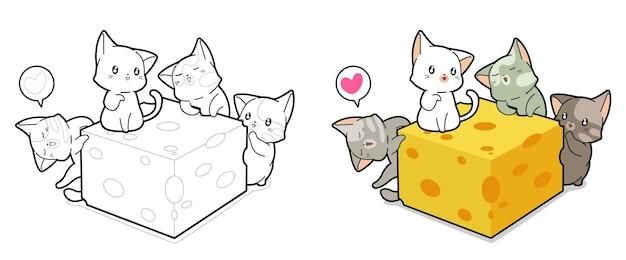 Pagina da colorare di cartoni animati kawaii per bambini e gatti Vettore Premium