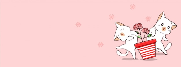 I gatti kawaii adorano il giorno di primavera Vettore Premium
