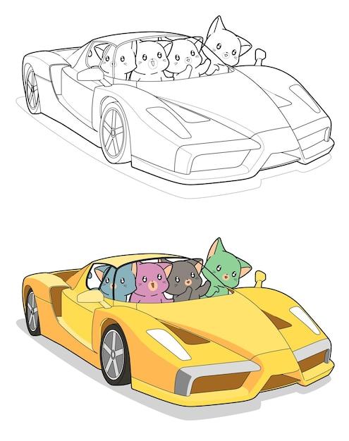 Gatti kawaii in super car cartoon facilmente pagina da colorare per bambini Vettore Premium