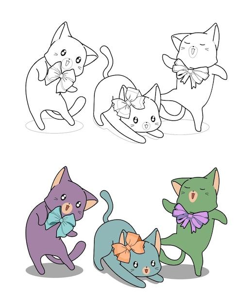 Gatti kawaii con fiocco cartoon facilmente pagina da colorare per bambini Vettore Premium