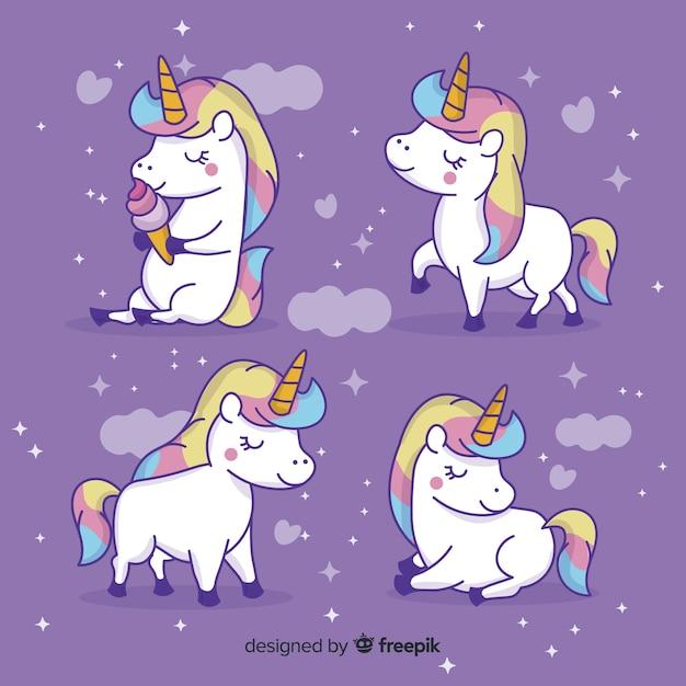 Collezione di simpatici personaggi unicorno kawaii Vettore Premium