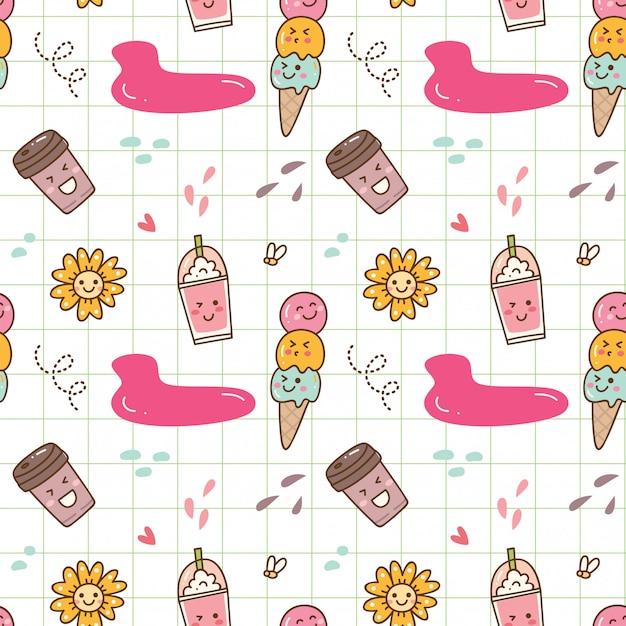 Fondo senza cuciture del gelato di kawaii Vettore Premium