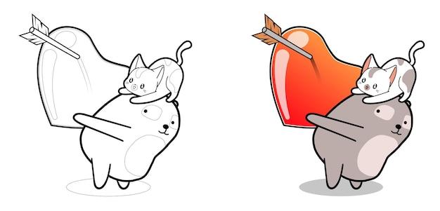 Pagina da colorare di panda e gatto kawaii con grande cuore Vettore Premium