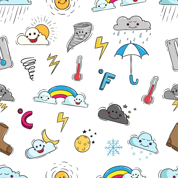 Elementi meteo kawaii in seamless con stile doodle Vettore Premium