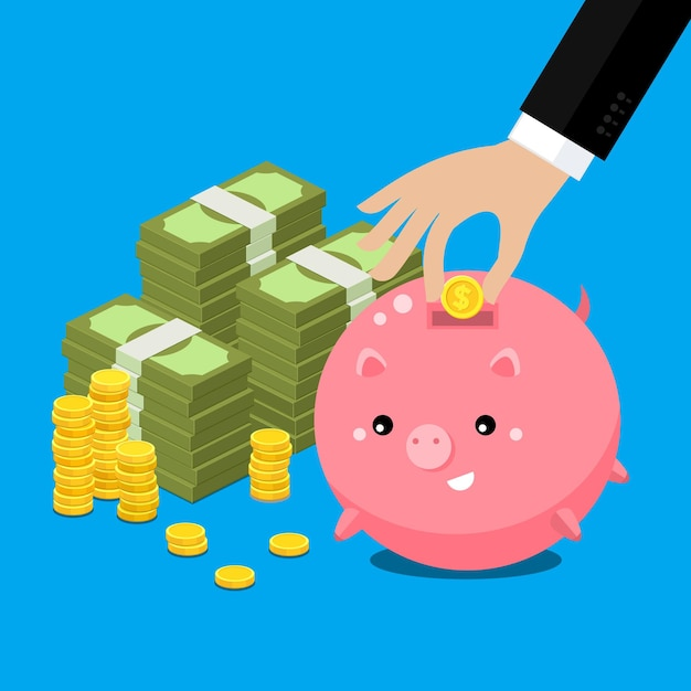 Mantieni il concetto di denaro. salvadanaio grasso carino con mano che raccoglie denaro. illustrazione piatta. Vettore Premium