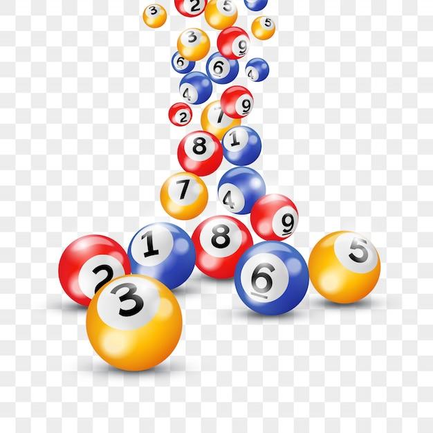 Palline keno lotteria numeri bingo lotto Vettore Premium