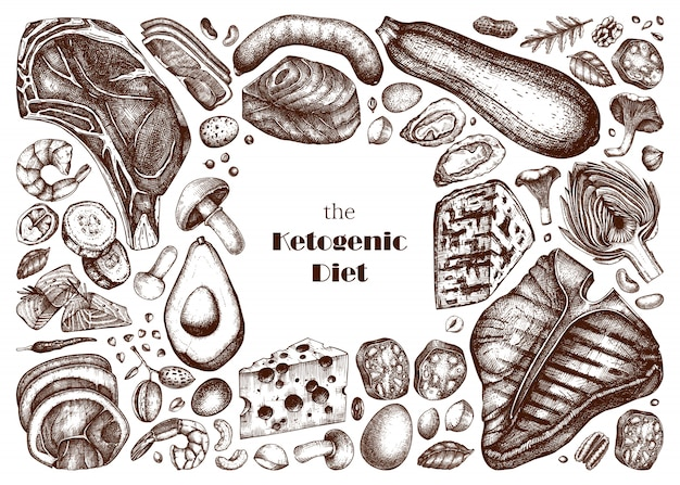 Set di illustrazioni di dieta chetogenica. schizzi di prodotti lattiero-caseari e alimenti biologici disegnati a mano. elementi della dieta cheto - carne, verdure, cereali, noci, funghi. Vettore Premium