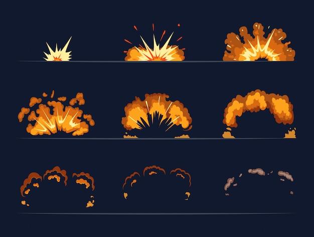 Fotogrammi chiave dell'esplosione di una bomba. illustrazione del fumetto in stile vettoriale. l'esplosione di bomba e il fumetto scoppiano il vettore della dinamite Vettore Premium