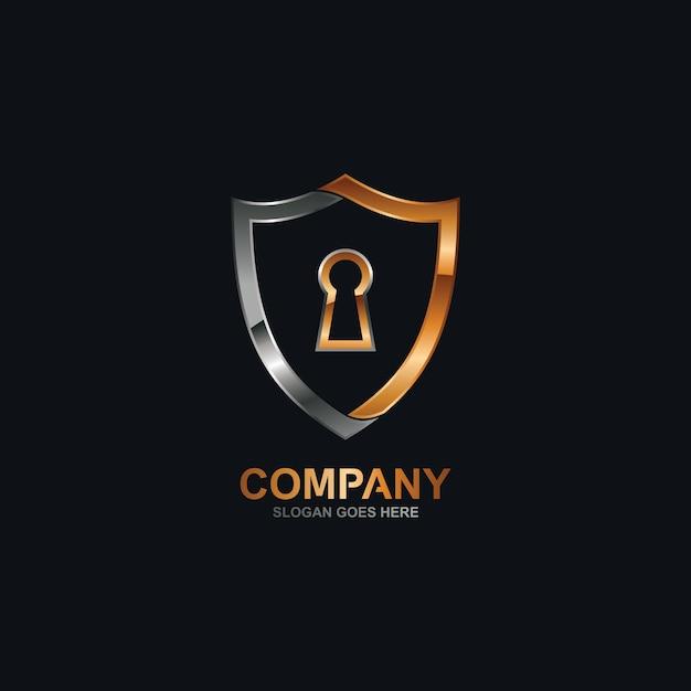 Buco della serratura e logo scudo Vettore Premium