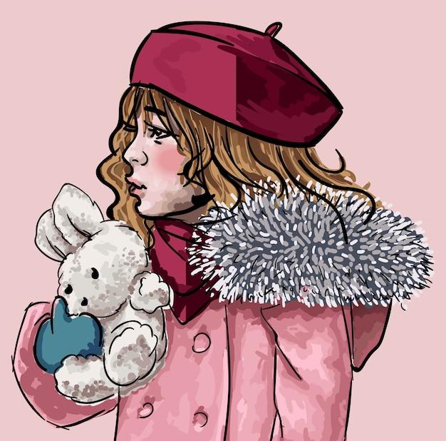 Peluche coccole per bambini. bambino isolato che indossa cappello abiti invernali e cappotto di furia Vettore Premium