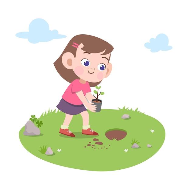 Illustrazione scopa della scopa della ragazza del bambino Vettore Premium